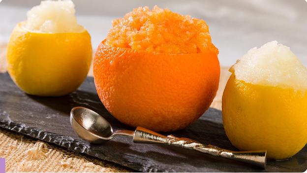 lemon and orange granitas